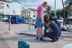 A new smart bench QBen Wave being installed on a street