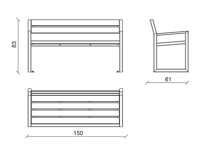 QBen Urban Wooden Bench scheme